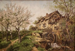 Oil Painting, 19th Century, idyllic Farmhouse with Water Wheel.