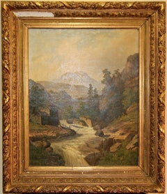 Oil painting, 19th century, river and mountain landscape.