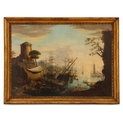 Oil painting after 'Marina del Porto' by Salvator Rosa