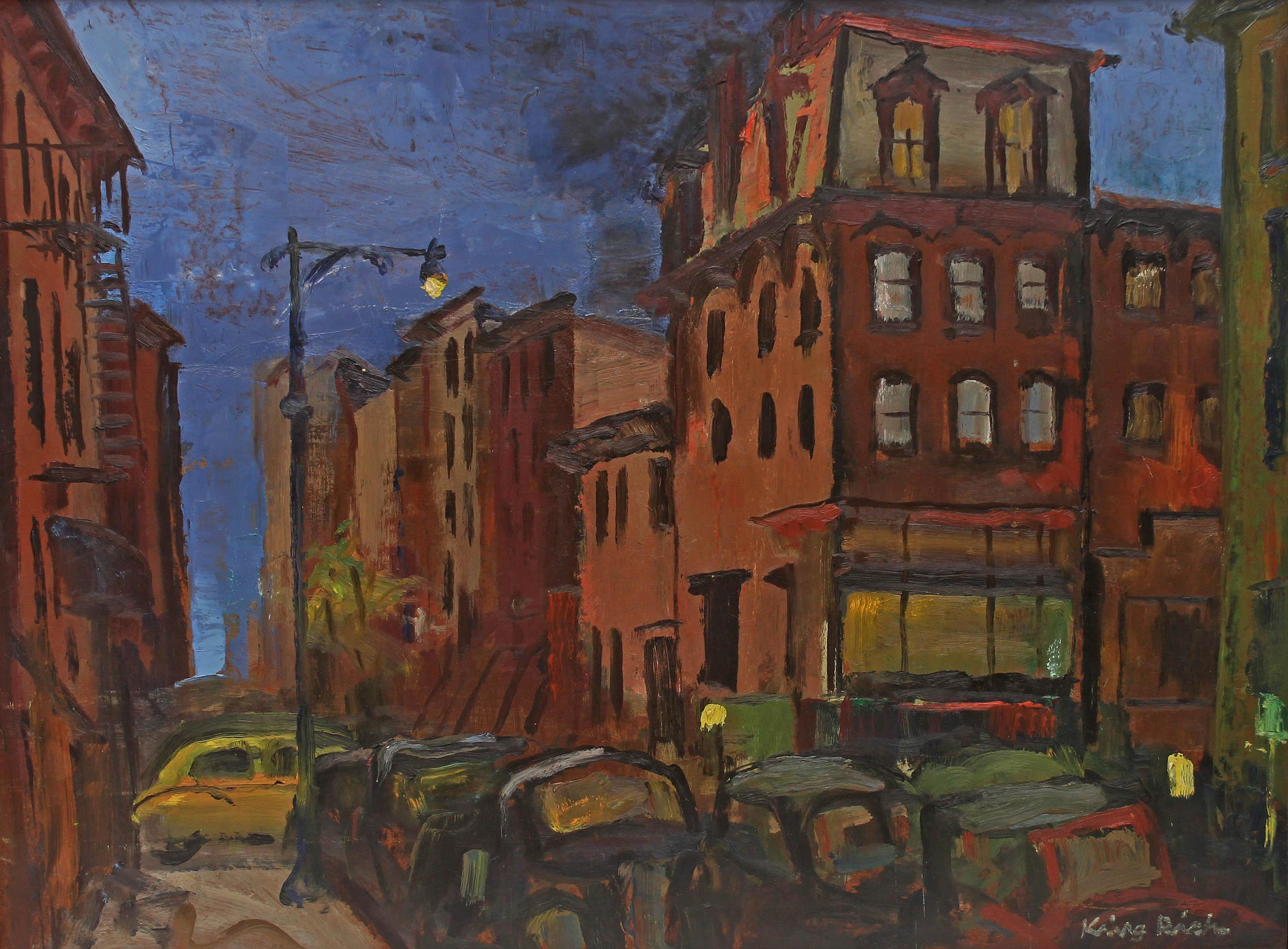 """Oil Painting """"Brooklyn"""" 1940's"""