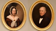 """Oil Painting by English School """"Portraits of a Lady and Gentleman"""""""