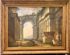 oil painting, Italian old master style Ruins scene in an extensive landscape.