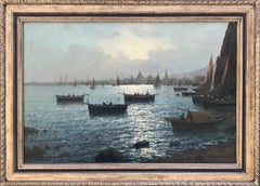 Oil Painting, Italian School, Harbour Scene with City in background (Early 20th)
