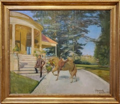 "Oil Painting of a Sporting Homestead Signed ""????wood"" in Wakefield 1895"