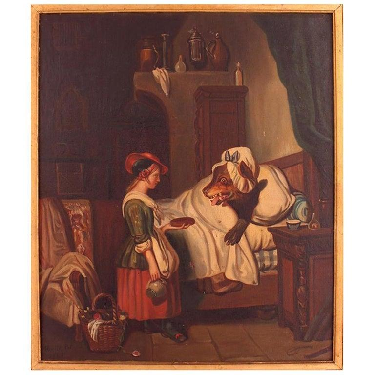 Oil Painting Signed Mari Pol 1863 Fairytale Red Riding Hood French 19th Century
