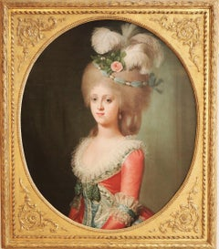 Oil Portrait, French 18th Century of an Austrian Princess, 1783