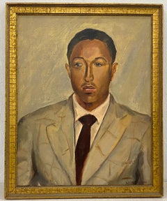 Oil Portrait of a Young African American Man Bearing Signature Laura Waring