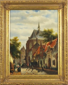 Old Dutch Street Scene Working Figures Cobbled Streets Signed Oil Painting