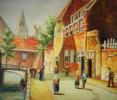 Old Europe Impressionist Street Scene  Painting