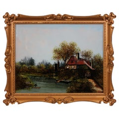 """Old Homestead"" Reverse Glass Landscape Painting of a River"