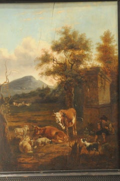 Old Master painting around 1750, landscape with grazing animals, Oil on wood