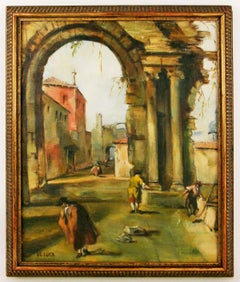 Old Rome  Figurative  Landscape  Painting signed De Luca