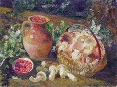 Old World Still Life of Jug of Berries and Mushrooms