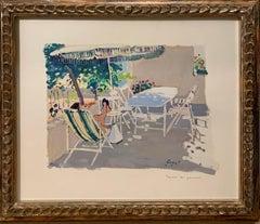 """On the terrace in summer"" Oil cm. 50 x 43 Oil"