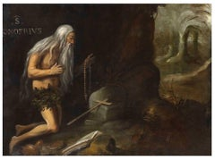 Onofrius in the Desert - Original Oil Paint by Lombard Master Early 17th Century