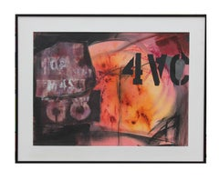 """Orange and Red Mixed Media Work with Stenciled """"4VC"""""""