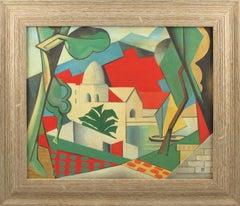 Orientalist Landscape French Gouache on Cardboard Painting