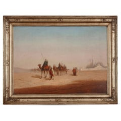 Orientalist oil painting of desert caravan