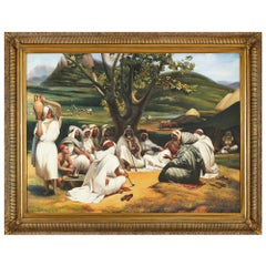 Orientalist painting of herdsmen in a pastoral landscape