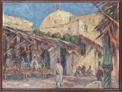 Orientalist View of Vendors in a Market, signed CA