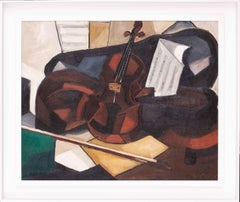 Original Cubist still life oil painting of a violin, French mid 20th Century