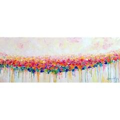Original Modern Acrylic on Canvas Drips of Pink by Alexandra Macouzet