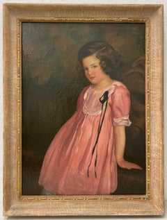 Original Oil Portrait of a Charming Young Girl in a Pink Dress by C. Rice C.1920