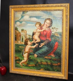 Original Signed Painting of Madonna with Child with Infant Saint John