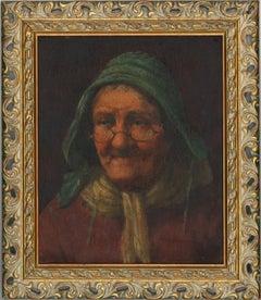 Ornate Framed Late 19th Century Oil - Elderly Dutch Lady
