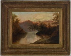 Ornately Framed 19th Century Oil - English Mountain Landscape at Sunset
