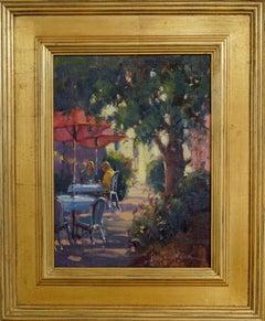 Outdoor Cafe, Plein Air Original Fine Art Gold Frame Oil on Linen Board