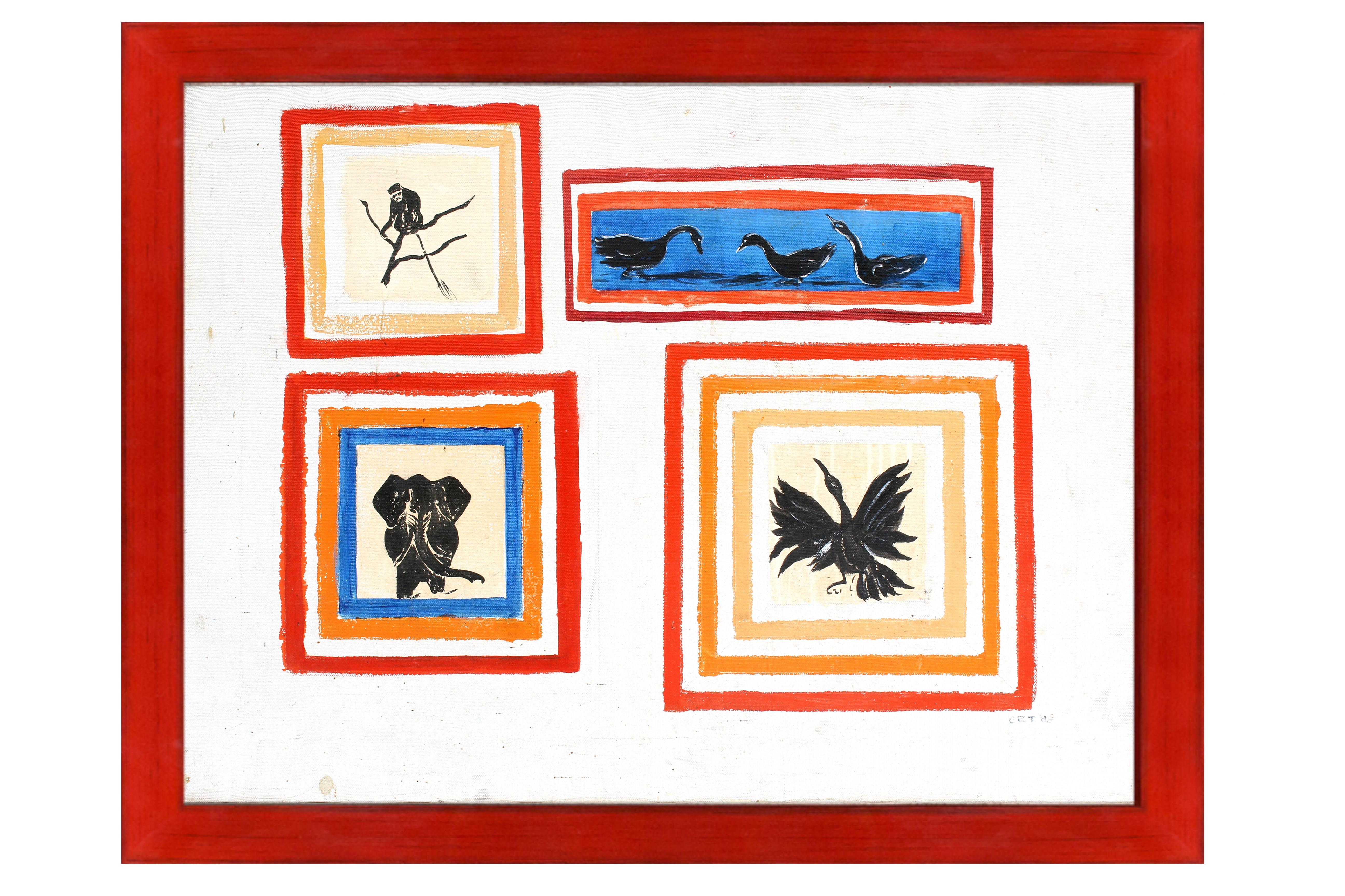 Outsider Artist American Modern Animals Colorful Geometric Red Blue