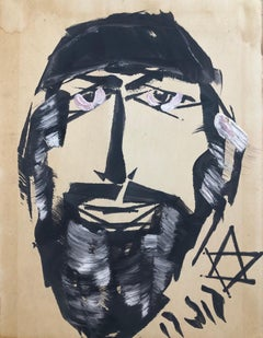 Outsider Folk Art Expressionist Rabbi Israeli Painting Signed Hebrew Jewish Star