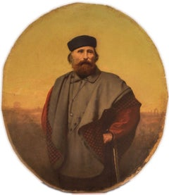Oval Portrait of Giuseppe Garibaldi - Original Oil on wooden table 19th Century