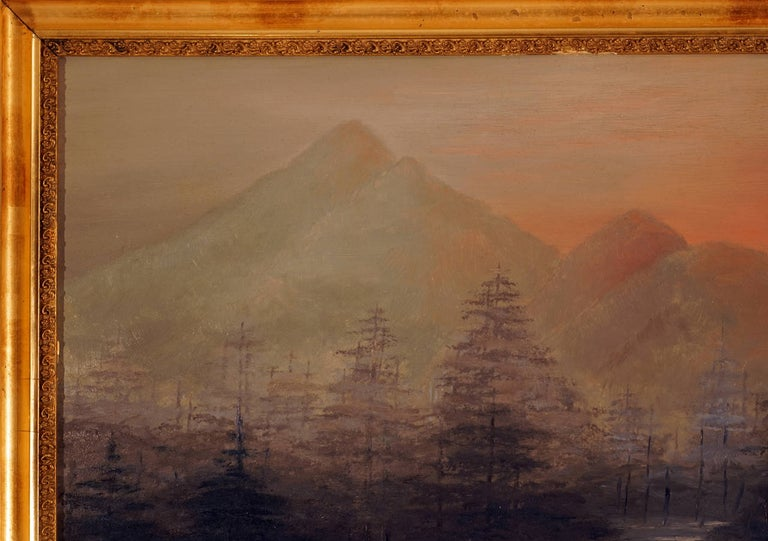 Overcast Mountain Landscape - Naturalistic Painting by Unknown