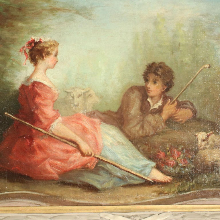Oil on canvas. The canvas depicts a scene inscribed inside a painted tray-shaped frame, on the sides of which there are two winged griffins; the bucolic scene features a shepherd and a shepherdess in the countryside, amiably intent on gallant