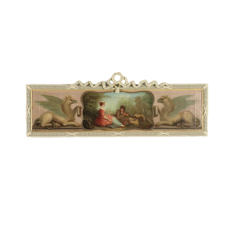 Unknown Figurative Painting - Overdoor With Bucolic Painting 19th Century