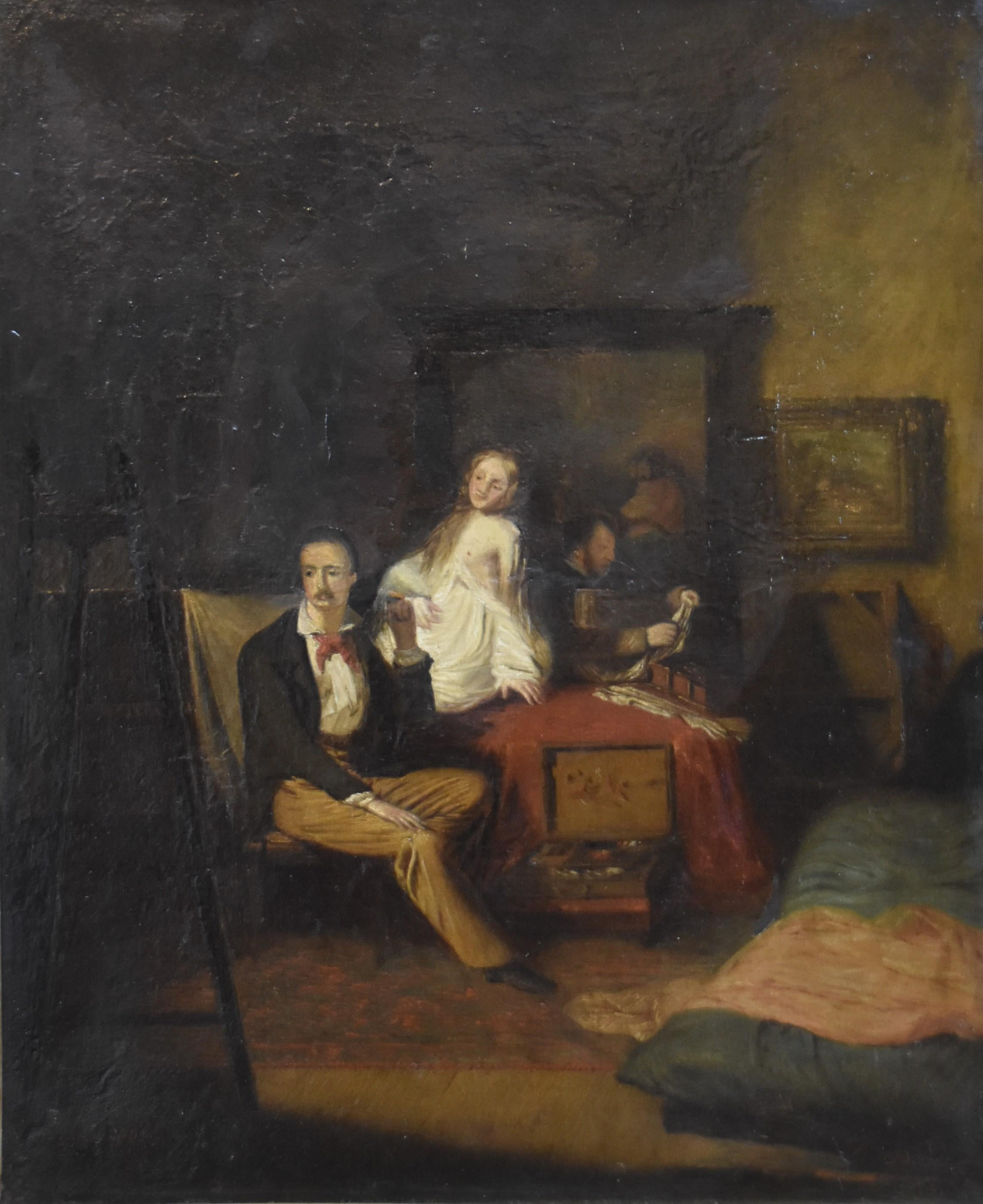 P Deltour (?), An artist and his models in the workshop, 1879, oil on canvas