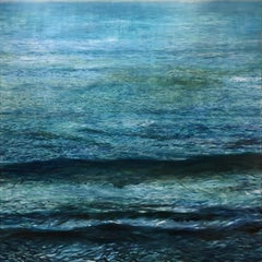 Pacific 18, realistic deep blue California ocean scene in oil