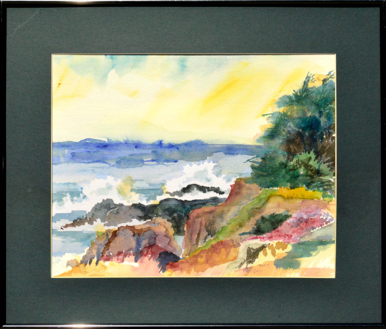 Pacific Coast Watercolor Landscape
