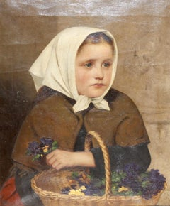 "Painting, 19th Century, oil on canvas, ""Young Girl with Flower Basket"""