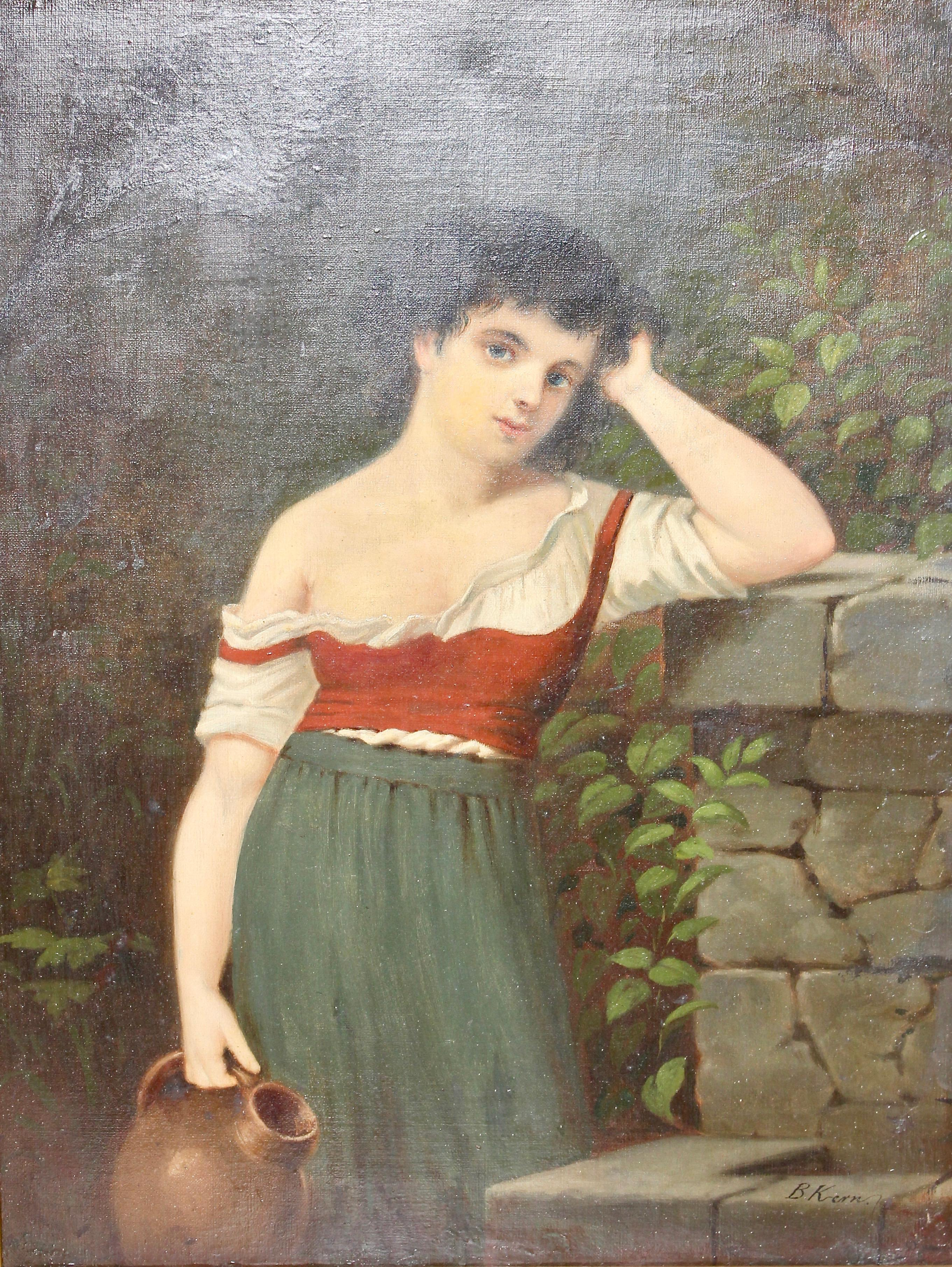 """Painting, 19th century, oil on canvas, """"Young woman at the well"""""""