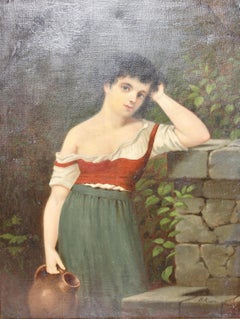 "Painting, 19th century, oil on canvas, ""Young woman at the well"""