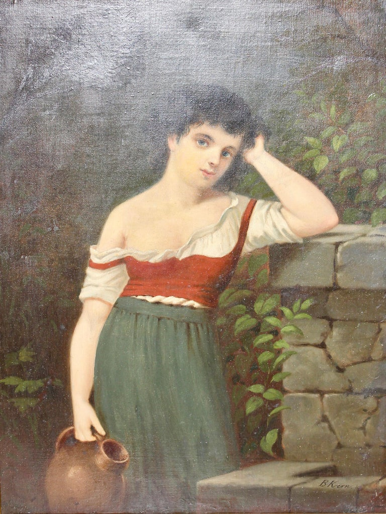 """Unknown Figurative Painting - Painting, 19th century, oil on canvas, """"Young woman at the well"""""""