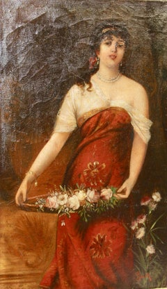 "Painting, 19th century, oil on canvas, ""Young woman with flower basket"""