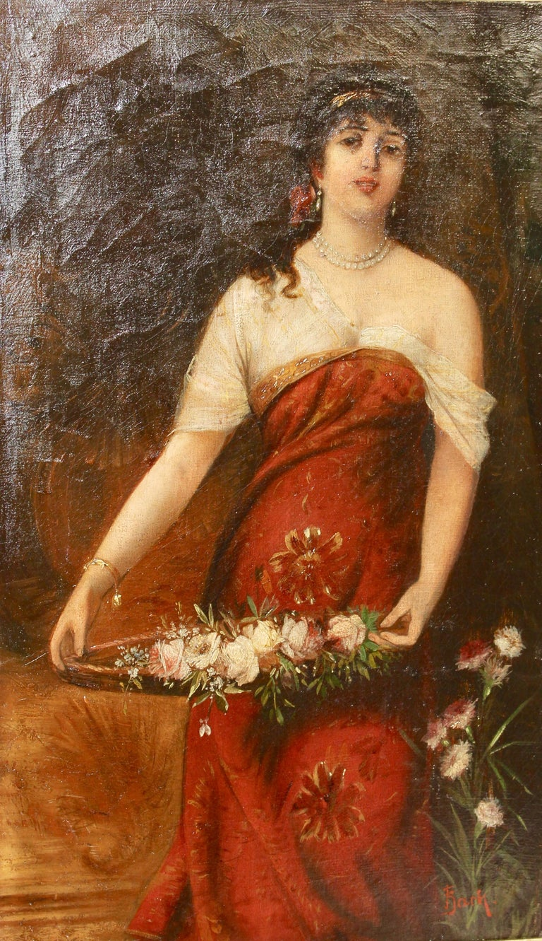 Painting 19th Century Oil On Canvas Young Woman With Flower Basket