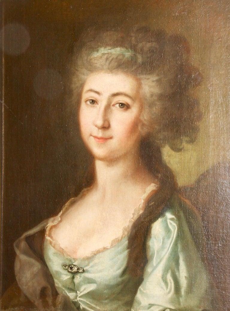 Unknown Portrait Painting - Painting, 19th century, women portrait, oil on canvas.