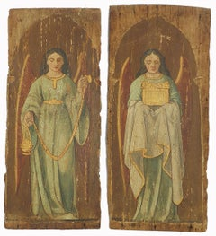 Pair 18th Century Paintings Angel on Wood Panel Naive French Provincial Church