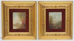 Pair Hudson River School Autumn Landscape Oil Paintings