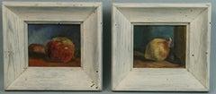 Pair Impressionist Fruit Still live oil Paintings 1940